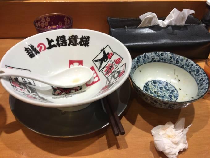 醤油そば+肉玉丼食べ終えた丼 |竹末東京
