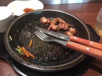 ワイルドステーキ200g チェンジブロッコリー食べ終えた図