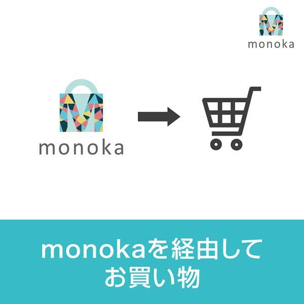 文字「monokaを経由してお買い物」