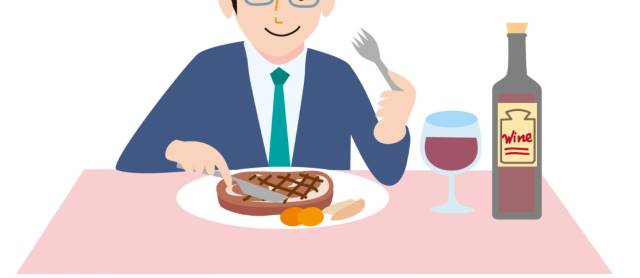 赤ワインとステーキを食べているイラスト