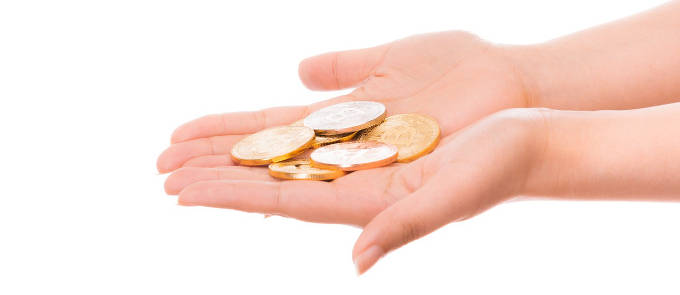 手の上のコイン