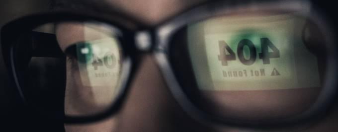 眼鏡に映った404の表示