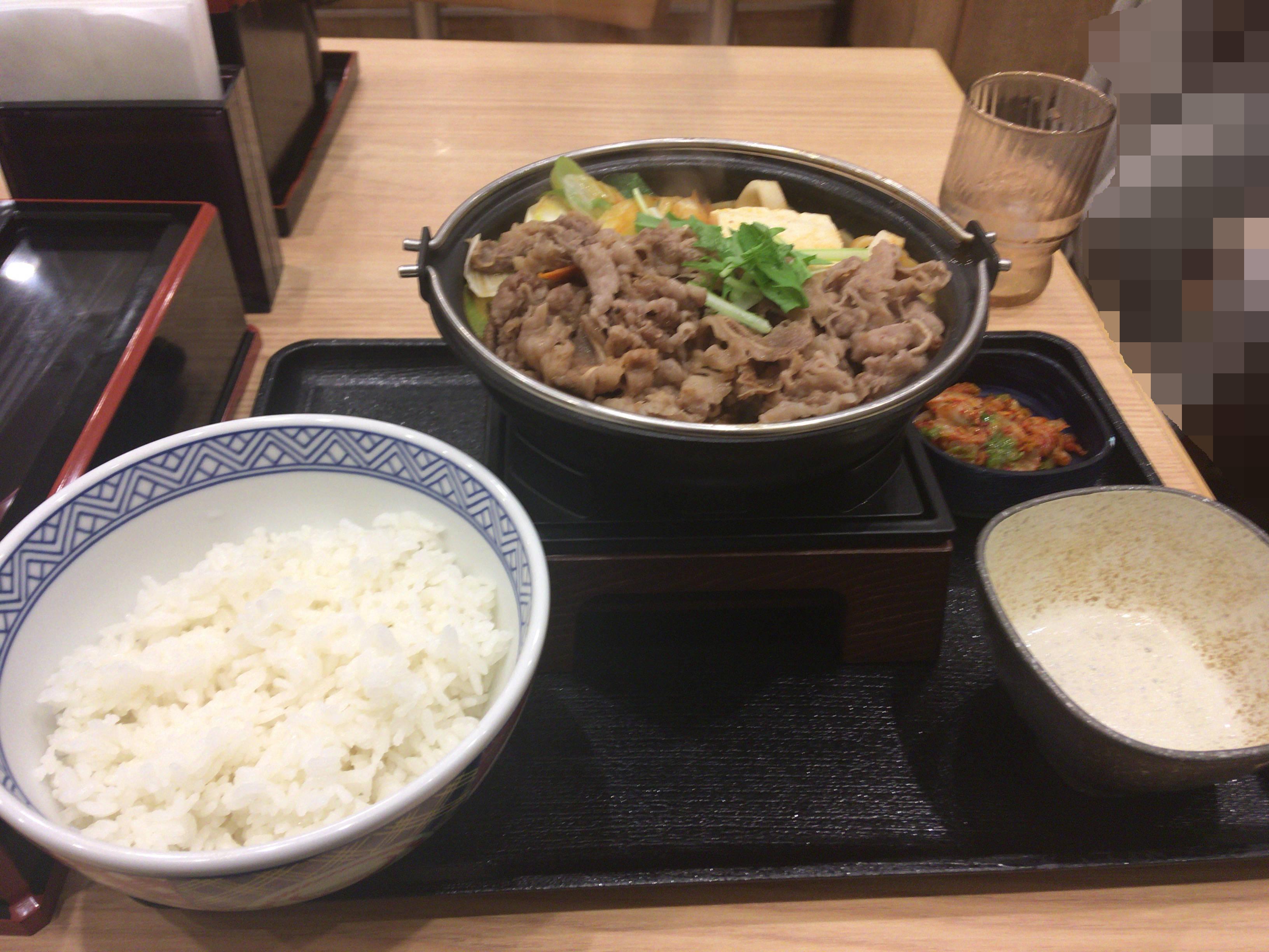 吉野家の牛チゲ鍋膳セット並盛 690円食べてみた。