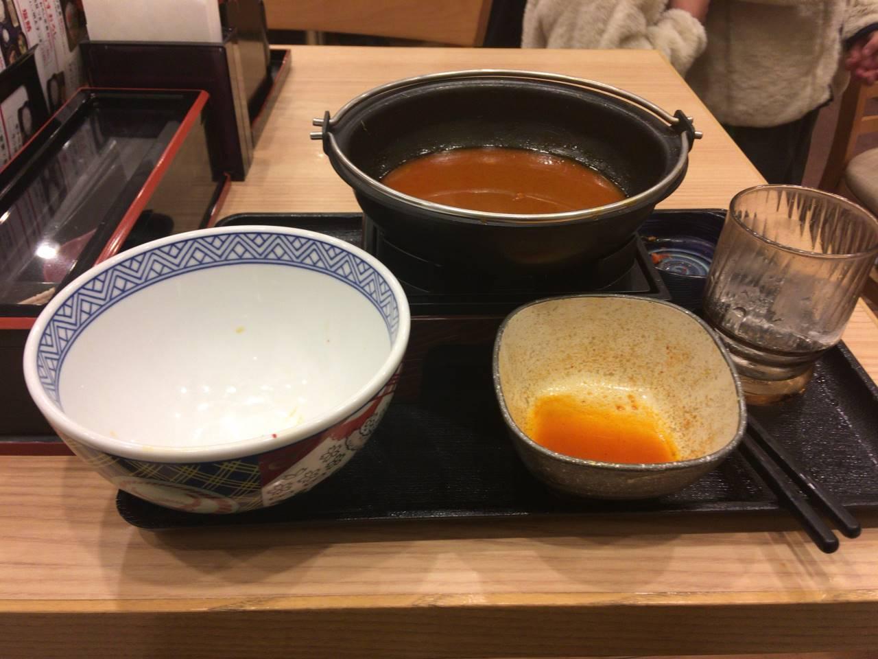 牛チゲ鍋膳セット並盛 690円食べ終えた図