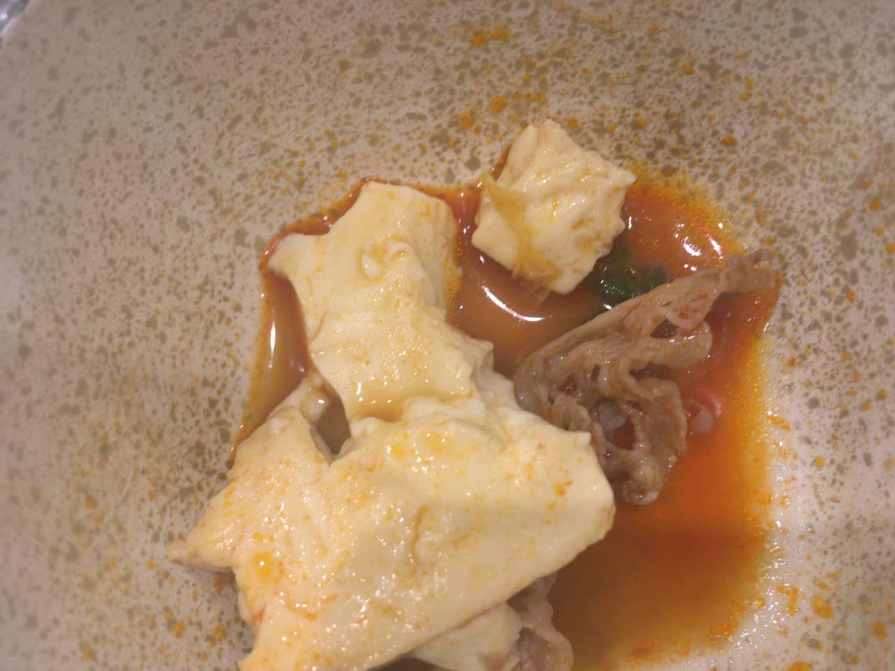牛チゲ鍋膳の豆腐