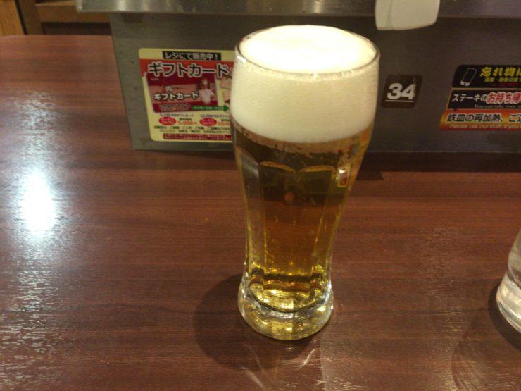 生ビールはプラチナ肉マイレージカード提示で1杯無料