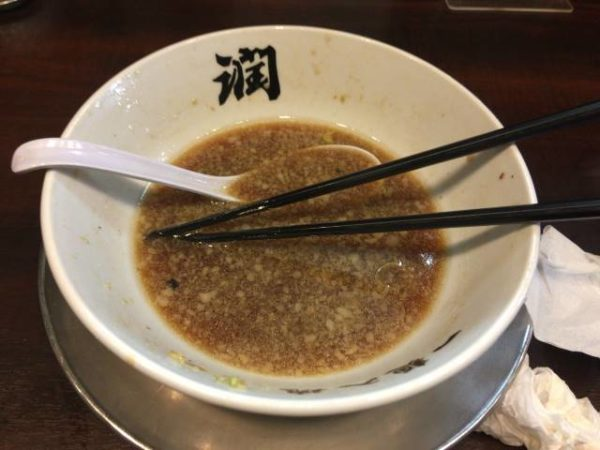 中華そば760円 らーめん潤 亀戸店食べ終えた丼