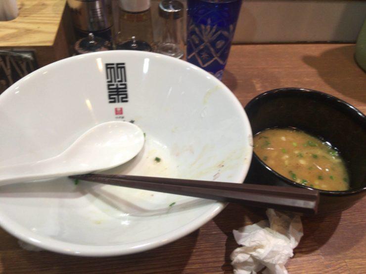 竹末東京プレミアムの鶏つけそば食べ終えた図