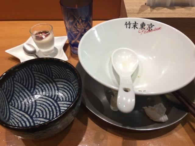 竹末東京プレミアムで食べ終えた丼