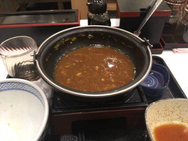 牛すき鍋膳 並盛セット 食べ終えた写真