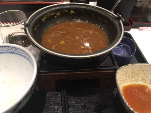 牛すき鍋膳 並盛セット 食べ終えた鍋の写真