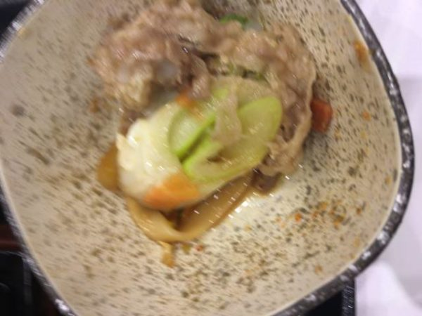 牛すき鍋膳 並盛のネギ