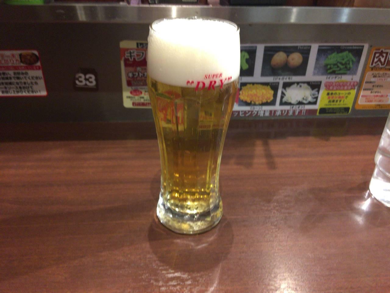 生ビール500円はプラチナ肉マイレージカード提示で1杯無料