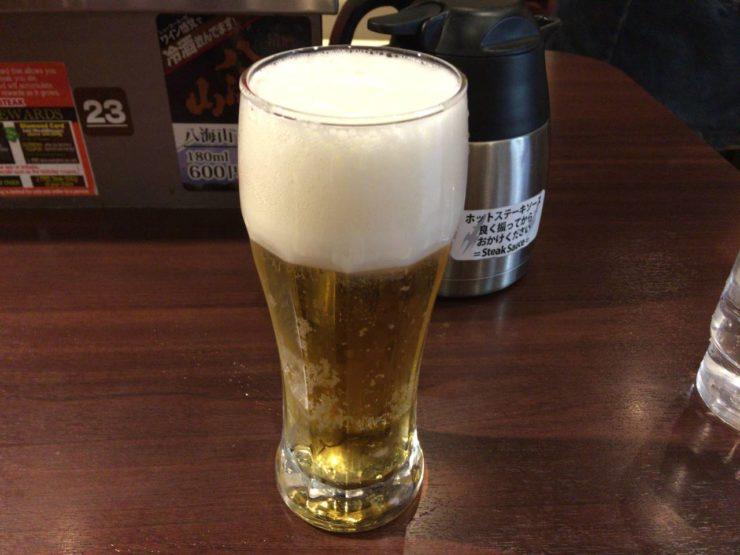 生ビール定価500円