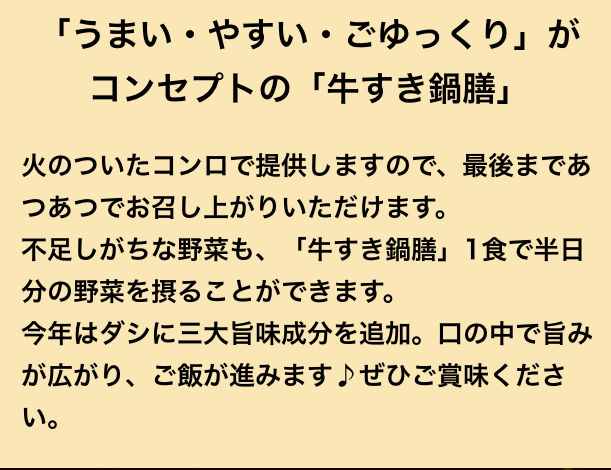 吉野家の公式サイトの牛すき鍋膳に関する説明書き