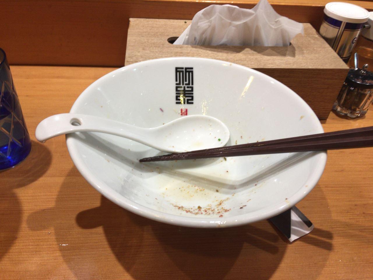 食べ終えた丼 竹末東京プレミアムのサンマとイカのまぜそば細麺版