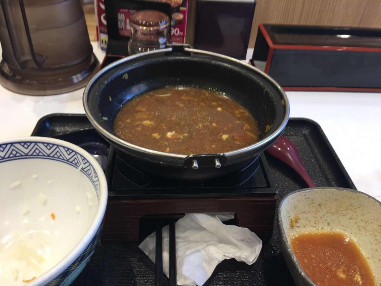 2019年3月5日吉野家のすき鍋食べ終えた図