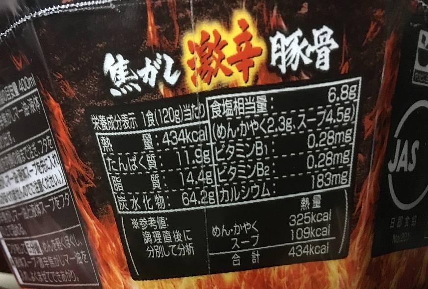 日清ラ王焦がし激辛豚骨の栄養成分表示