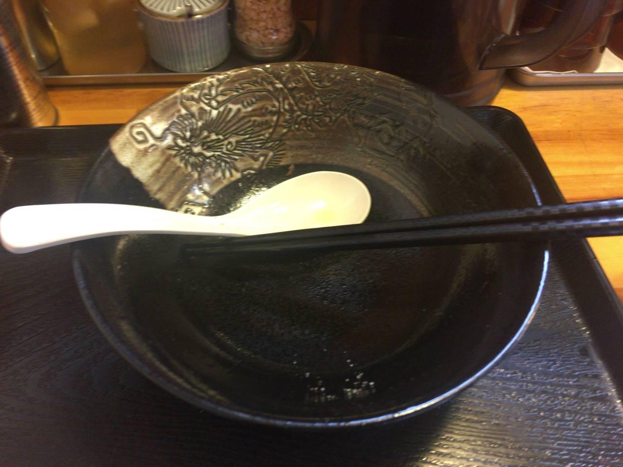 食べ終えた丼とレンゲ
