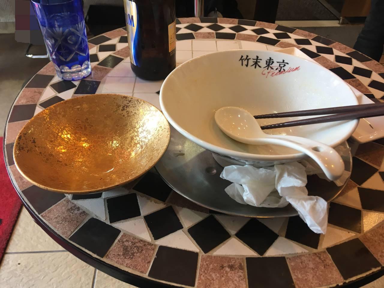 竹末東京プレミアム5周年記念のラーメンを食べ終えた丼