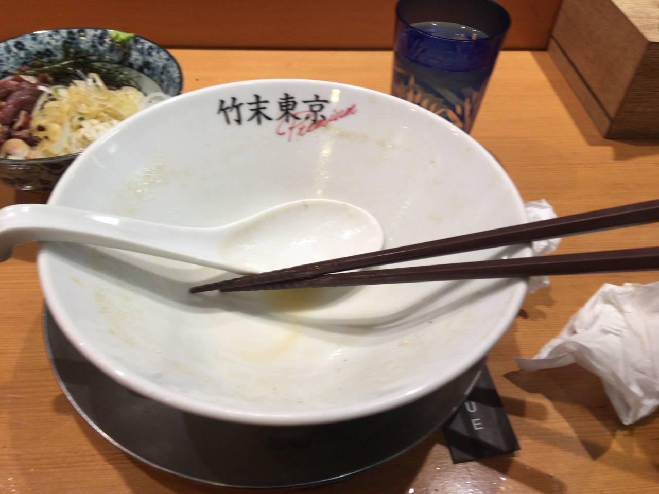 食べ終えた丼 ヤシオマスの塩そば|竹末東京プレミアム