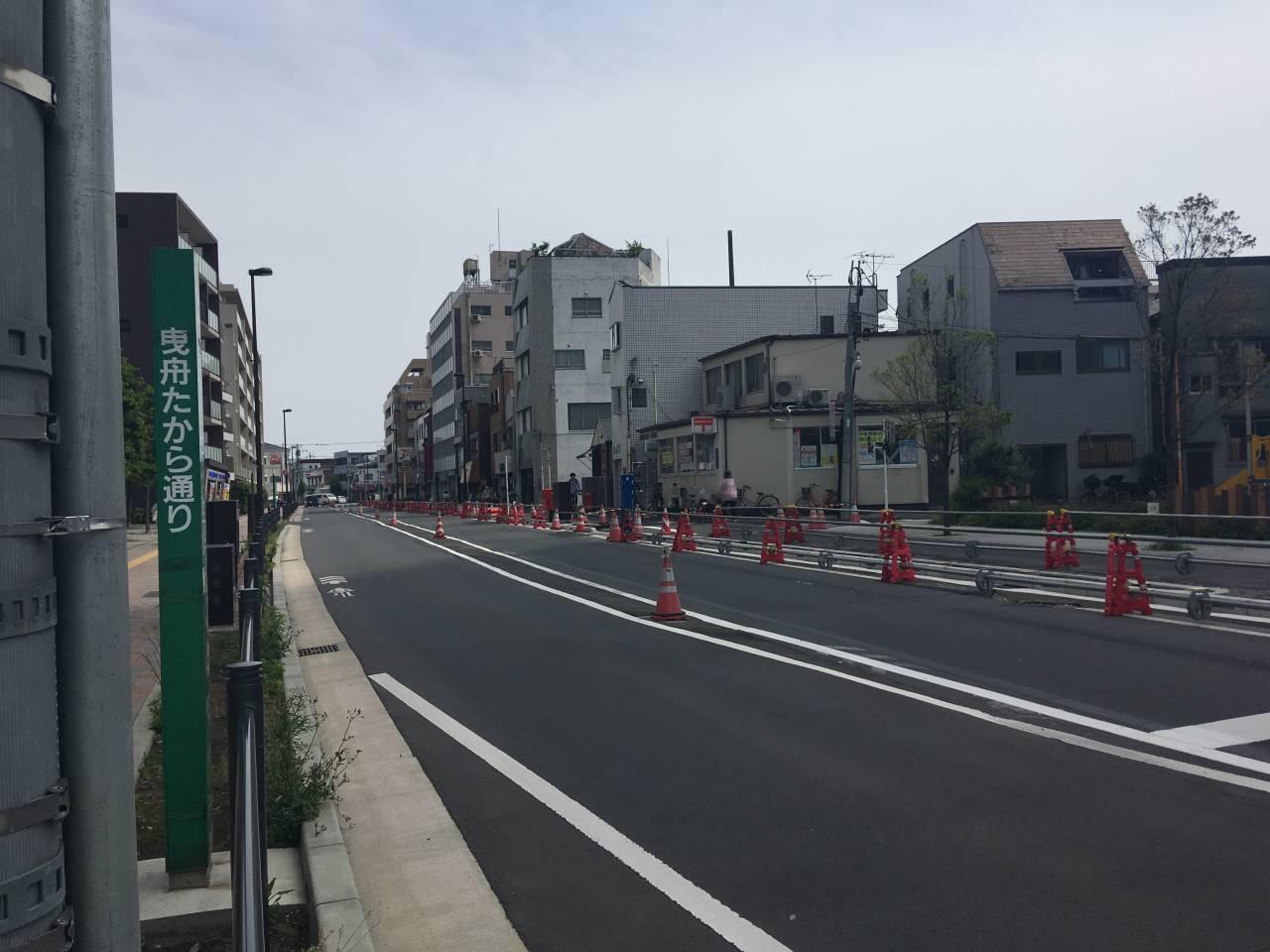 京成曳舟駅から中川會方向への道