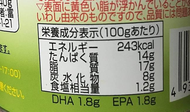 栄養成分表示:いわし煮付 缶詰 富永食品株式会社