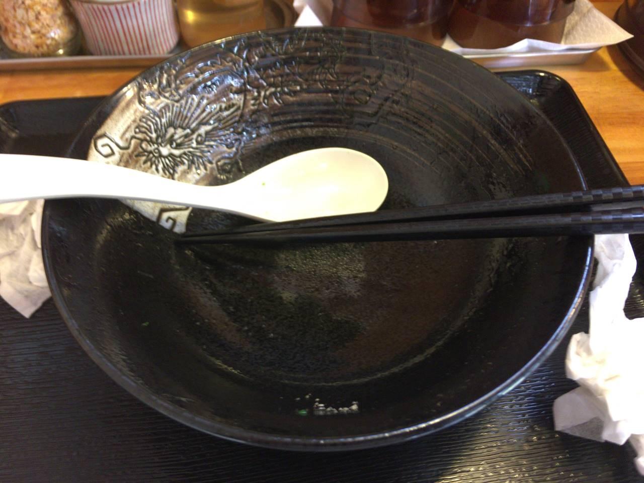 塩 ホタテのエビの昆布エキスのタレ 麺屋太陽 食べ終えた丼