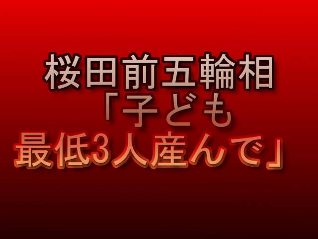 桜田前五輪相「子ども最低3人産んで」