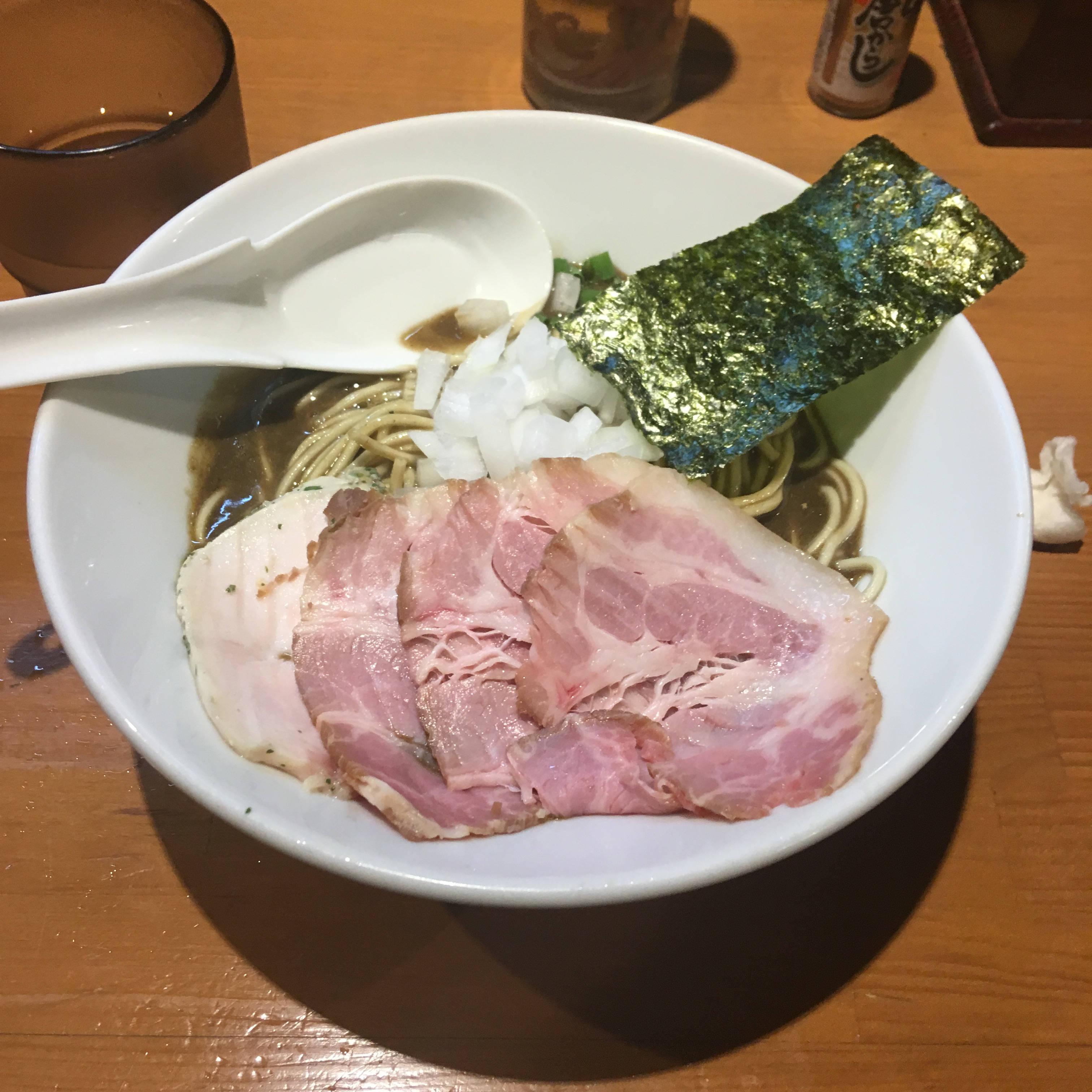 濃厚蕎麦+豚チャーシュー、 亀戸煮干中華蕎麦つきひ