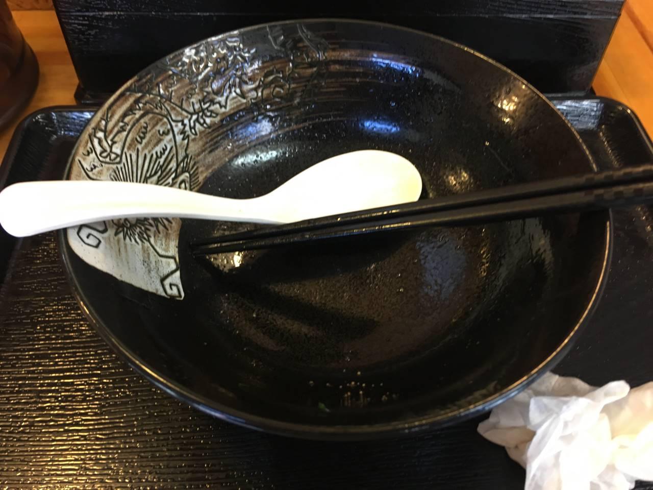 食べ終えた丼:とろとろ牛スジねぎ塩そば (牛すじ品切れ)|麺屋太陽