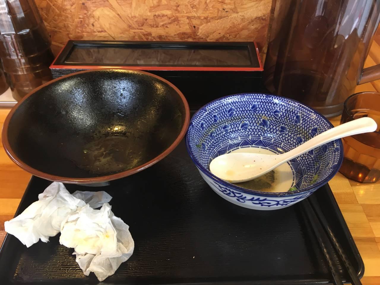食べ終えた丼 濃厚魚介鶏つけ麺 麺屋頂中川會