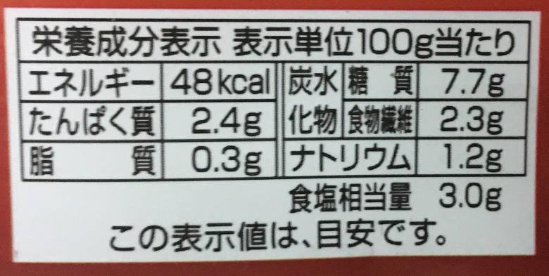 栄養成分表示:TOPVALU 国産白菜使用キムチ いわしと昆布、イカの塩辛のうまみ