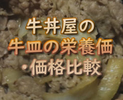 文字「牛丼屋の牛皿の栄養価・価格比較」