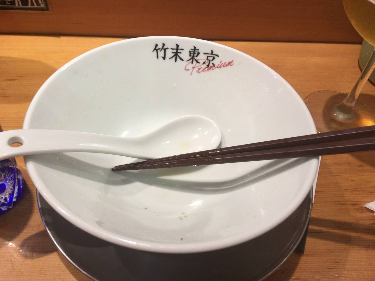 食べ終えた丼:竹末東京Premium醤油そば