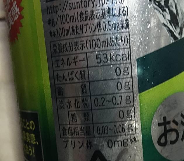 栄養成分表示:まるごと青梅 サントリーSTRONG ZERO