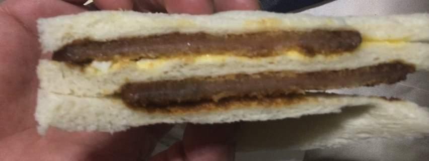 ハムカツの側面図:厚切りロースカツ&ダブルハムカツ|ローソンのサンドイッチ