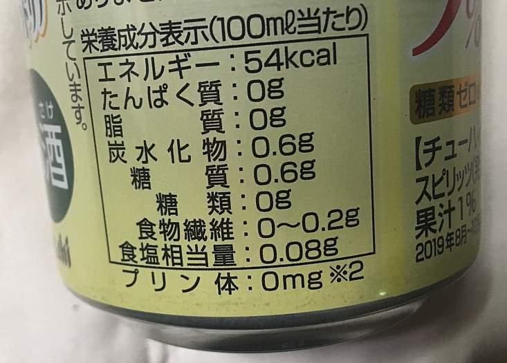 栄養成分表示:アサヒもぎたて期間限定マスカットオブアレキサンドリア