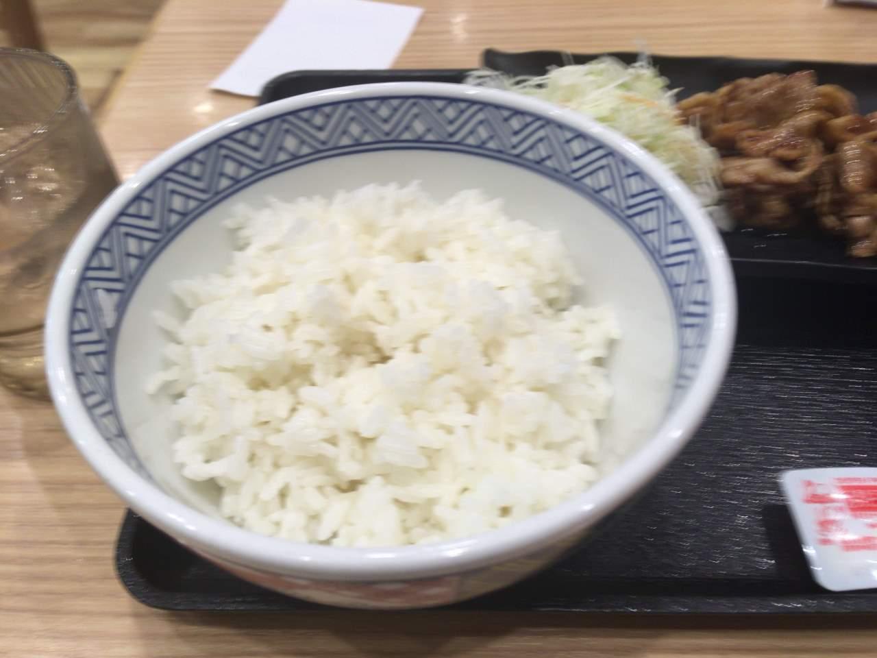 吉野家の定食のご飯(並盛)