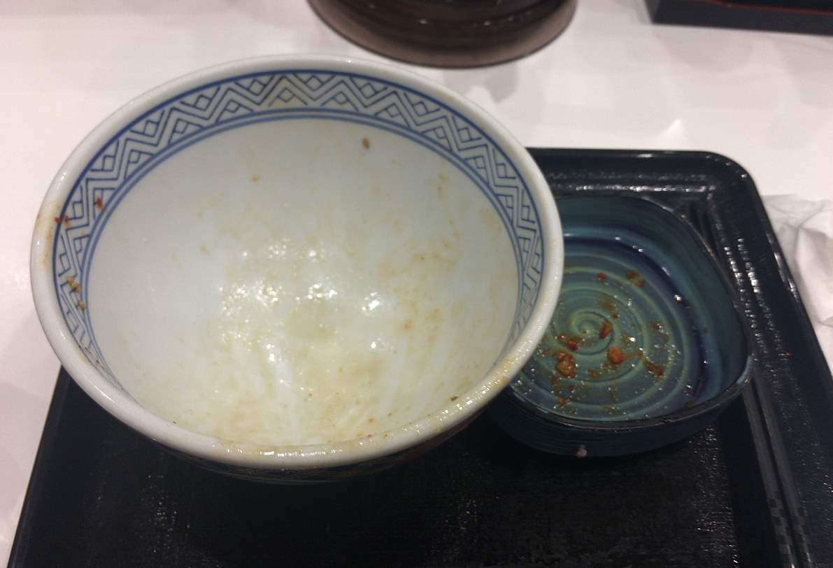 食べ終えた状態:キムチ豚丼 吉野家