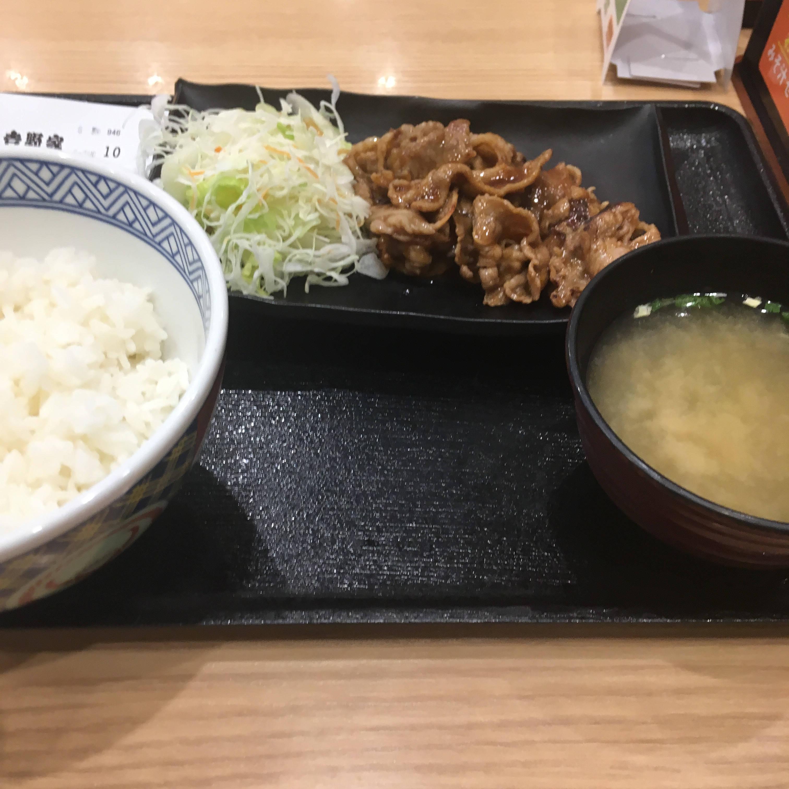 吉野家の牛カルビ生姜定食