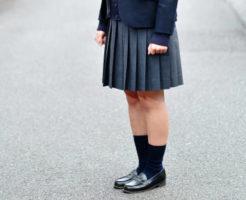 高校生 紺色ブレザーに濃いグレーのプリーツスカート