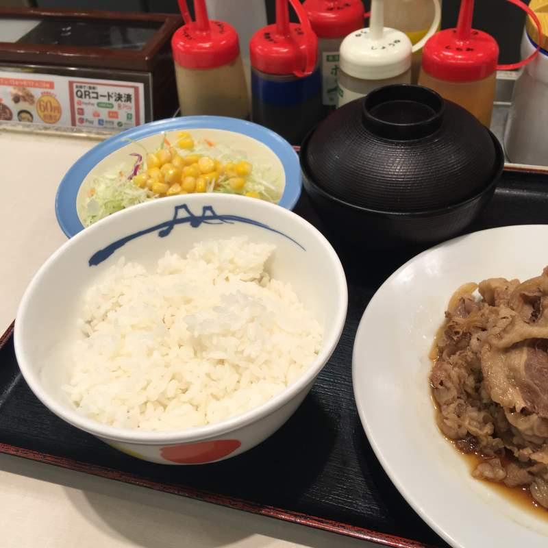 サラダとご飯とみそ汁が付いてくる:「お肉どっさりグルメセット」930円 松屋