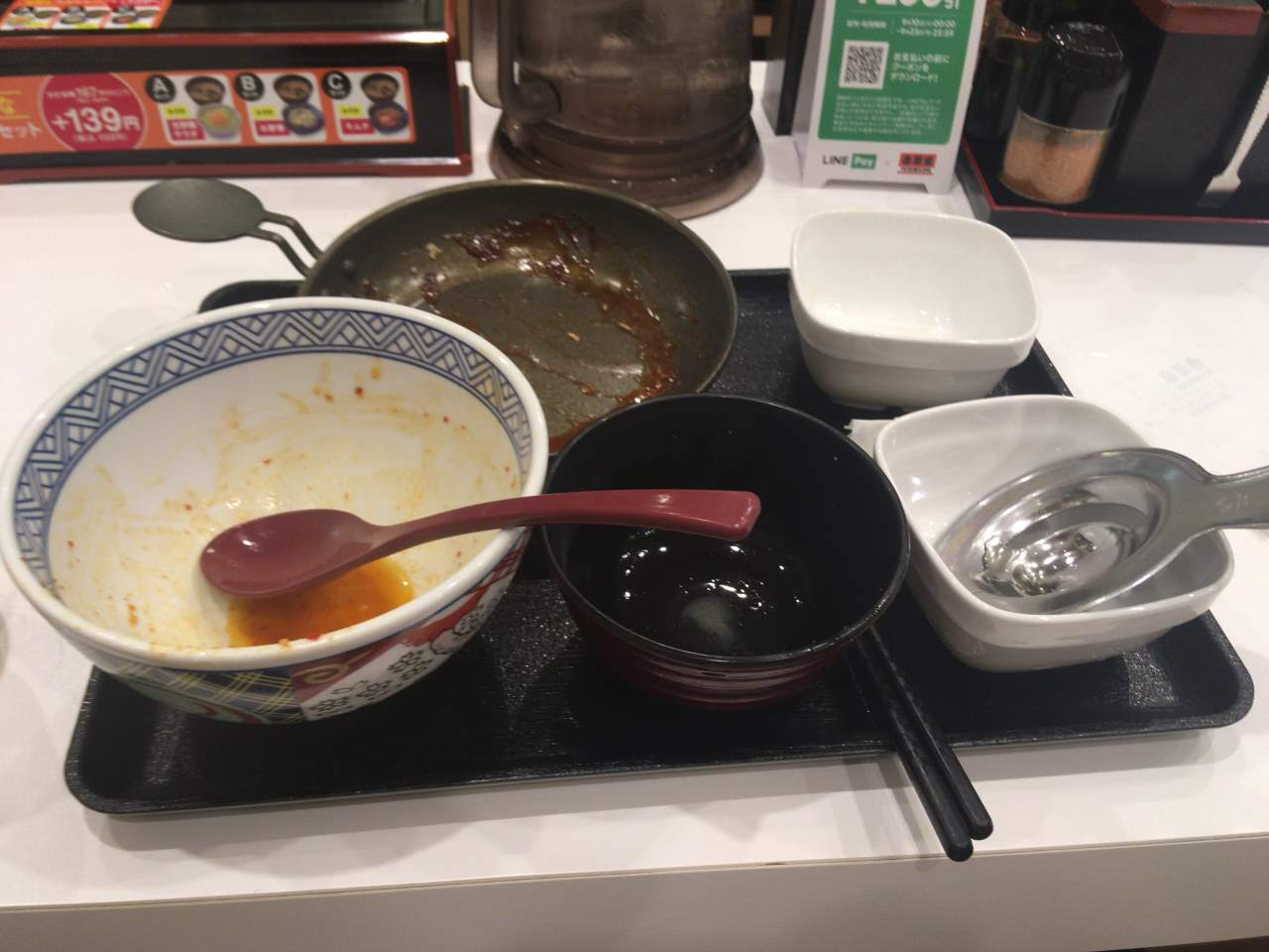 完食した状態:豚キムチ定食|吉野家
