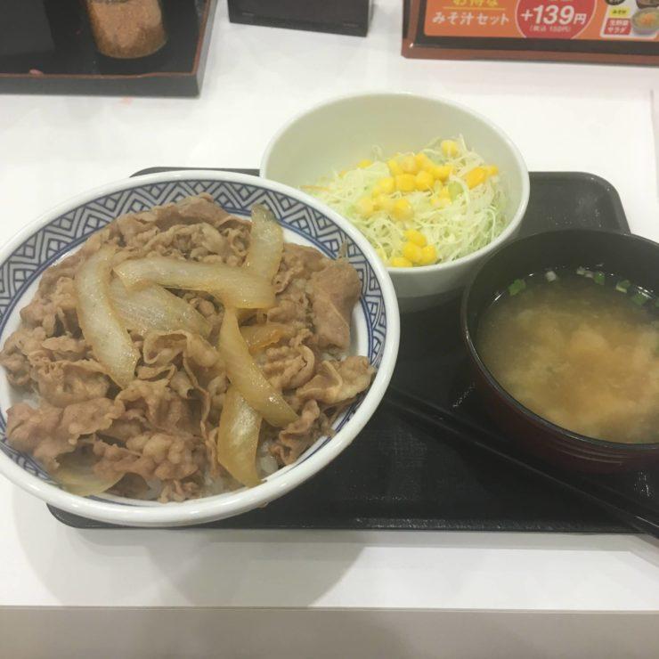 牛丼 アタマの大盛と生野菜みそ汁セット(Aセット)|吉野家