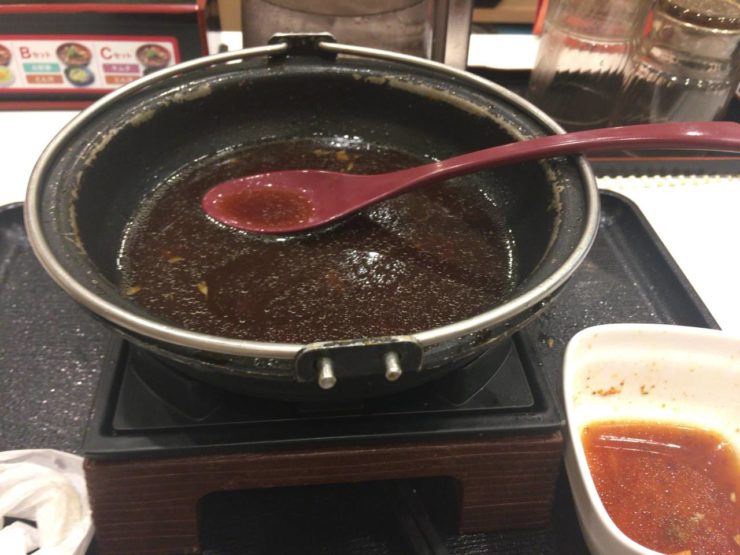食べ終えた状態:牛すき鍋膳単品大盛ねぎ増し