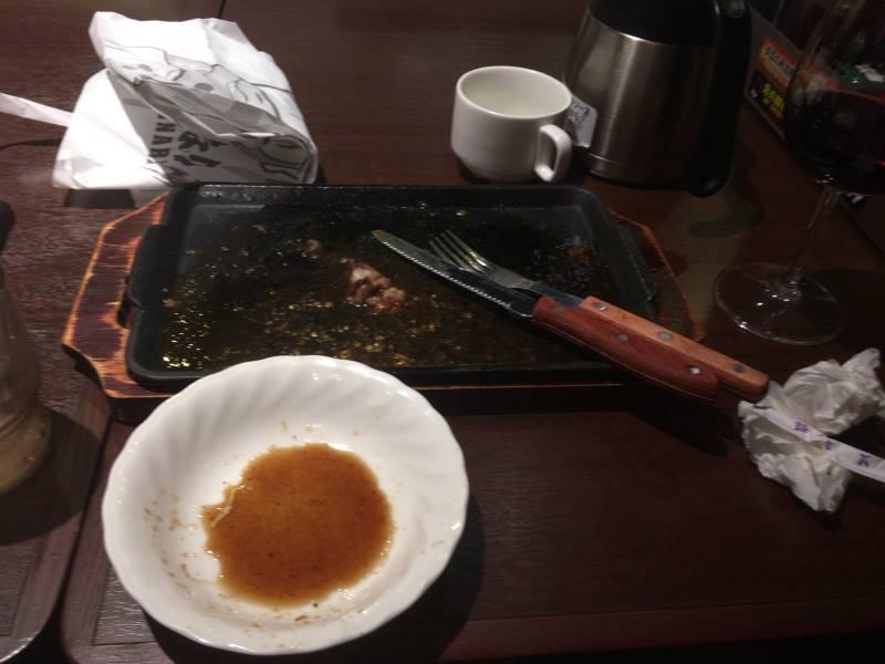 完食した状態:いきなり!ステーキ墨田大平店で食べた乱切りカットステーキ