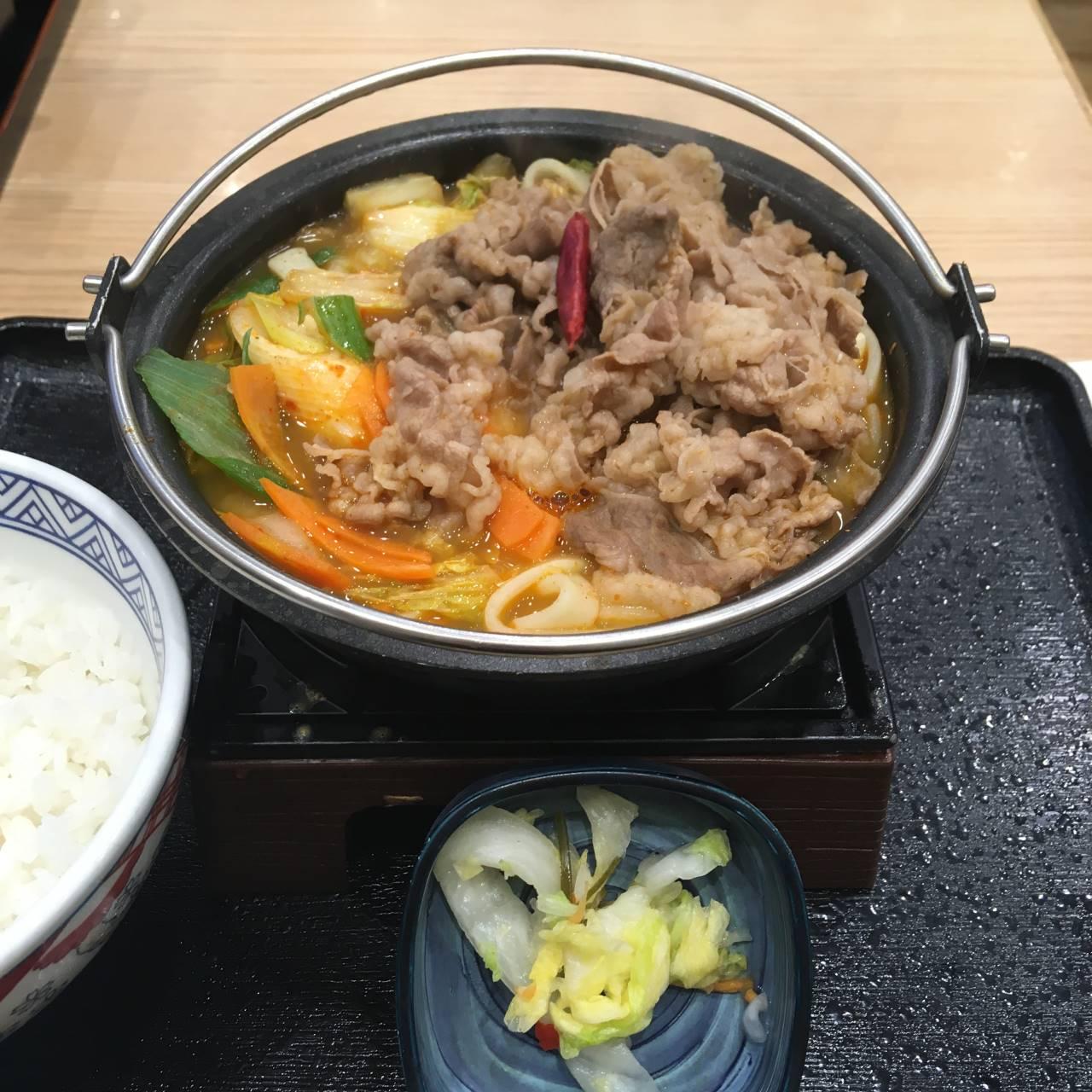 麻辣牛鍋膳 ご飯付の物 2019年度版吉野家の鍋膳 7回目