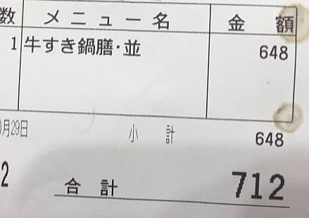 牛すき鍋膳並(ご飯有り)2019年度版の価格
