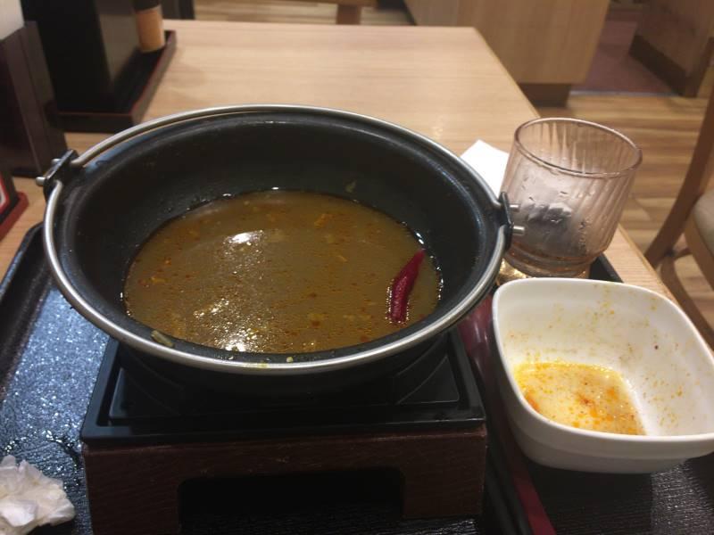 完食した状態。汁は残した。ご飯があれば汁まで食べきれたかも:吉野家の『麻辣牛鍋膳』